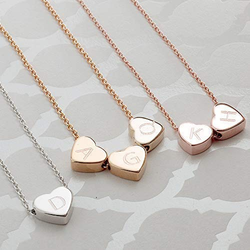 - Hearts Initial Necklace Hand stamped 16k Gold White Gold Rose Gold Plated Dainty Heart Charm Dainty Christmas Wedding gifts Bridesmaids