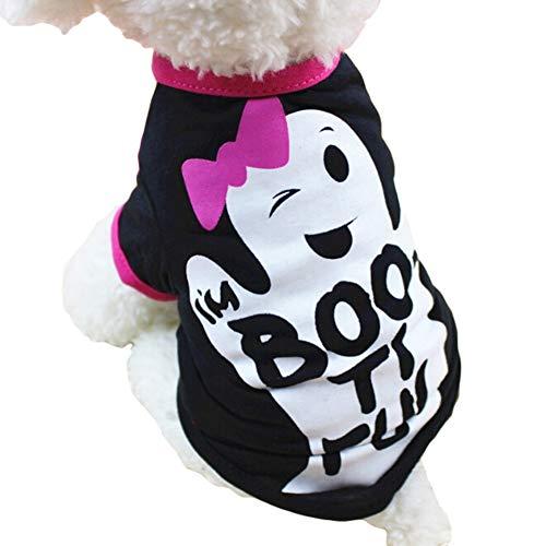 BUYITNOW Halloween Dog Shirt Pet Costumes T-Shirt Pumpkin Head Costume White Ghost Costume