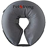 PetStrong Inflatable Protective Recovery Collar - Premium Durable Scratch and Bite Resistant, Complete Comfort for Your Dog, 100% Satisfaction Guaranteed, Gray (Medium)