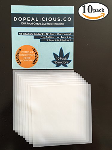 25 Micron Screens 10-pack w/ Free Dabber | Essential Oil Filter | 5×5 Inch Sheets | 100% Food-Grade Nylon (10)