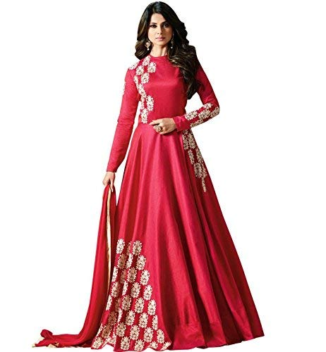 b6853c563e0 Aligan brings Women s Red Color Silk Embroidered Party wear Gown Style  Anarkali Suit  Amazon.in  Clothing   Accessories
