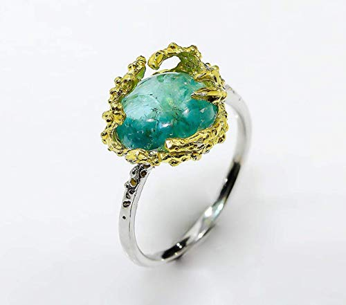 Paraiba Apatite Ring Ocean Coral Reef silver ring with blue stone raw ring 925 sterling silver Mother