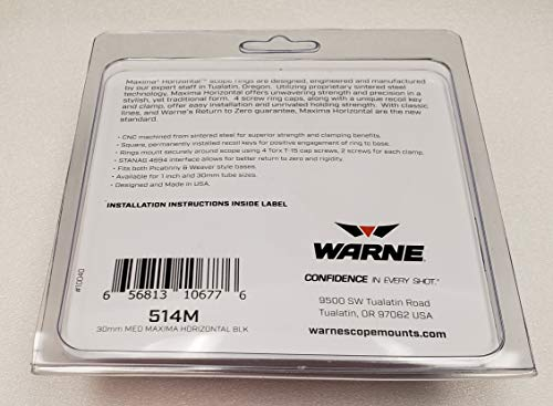 Warne Scope Mounts 514M 30mm, PA, Medium Matte Rings