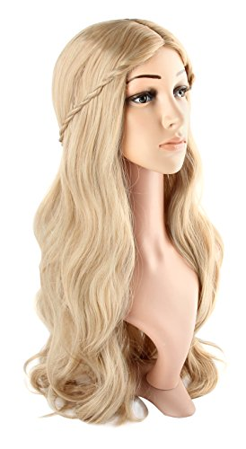 Acecharming Blonde Curly Wig Women's Long Curly Wigs Cosplay Party Wig with Wig Cap(Light Blonde)]()