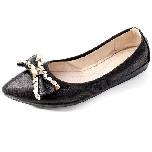 Cattle Shop Foldable Ballet Flats for Women Rhinestone Slip On Flat Shoes