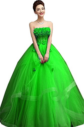 JINGDRESS Women Ball Gown Ruffled Beading Prom Quinceanera Dresses(Green,16) by JINGDRESS