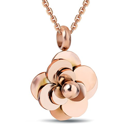 VQYSKO Stainless Steel Camellia Pendant Flower Choker Necklaces for Women (Rose (Gold Flower Choker Necklace)