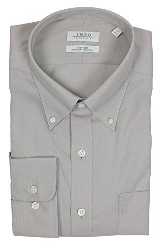 Enro Men's Big & Tall Non Iron Button Down Collar Dress Shirt (Gray, 22 x 8/9)