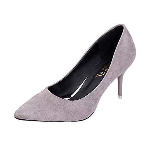 Rawdah Fashion Women Nude Shallow Mouth Fashion Elegant Ladies Casual Suede Solid Color Office Work High Heels Shoes Gray vmarpfWV0u