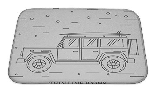 Aloha Surf Rug Carpet Mat (Gear New Bath Rug Mat No Slip Microfiber Memory Foam, Silver Travel Car Family Camper With Surf Board Thin Line Traveler Truck Car Outline, 24x17)