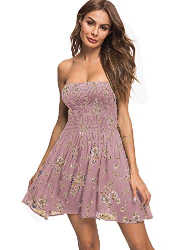 just quella Women's Summer Cover Up Strapless Dresses Solid Tube Top Beach Mini Dress (S, Pink Flower)