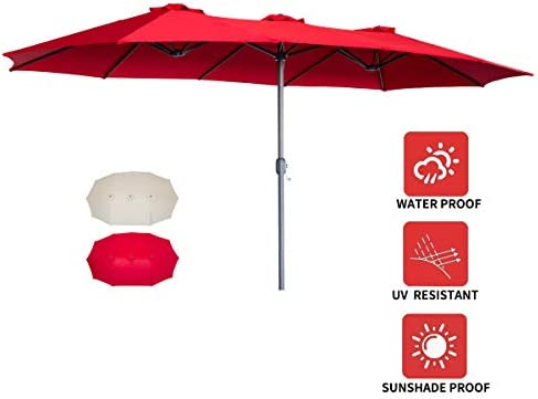 AECOJOY 15x9ft Double-Sided Patio Umbrella Outdoor Market Umbrella Large Sunbrella Table Umbrellas with Crank Air Vents for Deck Pool Patio Red