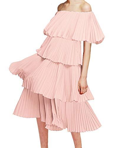 (Memoryee Women's Casual Off The Shoulder Ruffles Hem Tiered Midi Dress (Pink, XL))