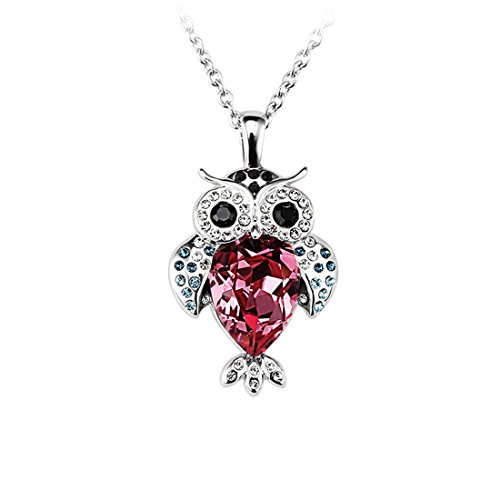 FANSING Costume Jewelry Valentine's Day Gift Raindrop Shaped Austrian Crystal Owl Pendant Necklaces for Women & Girls, Rose Red (Best Halloween Dog Costumes 2017)