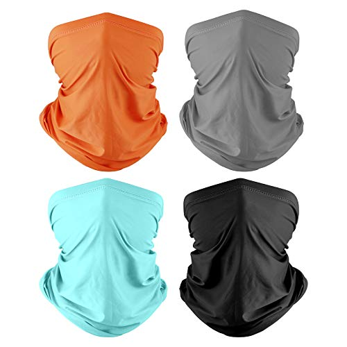 Co-Goldguard Neck Gaiter,4 Pack Face Bandana Cool Sun UV Protection Breathable Cover Tube Dust-Proof Reusable Washable Motorcycle Scarf for Women Men Outdoor