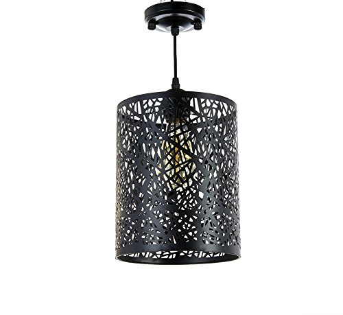 New Galaxy 1-light Black Finish Metal Shade Hanging Pendant Ceiling Lamp Fixture