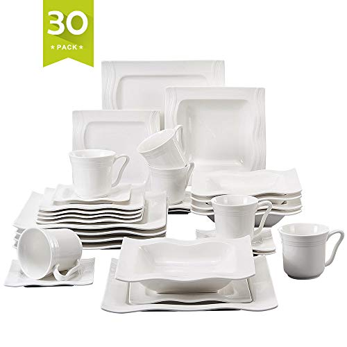 Malacasa, Series Mario, 30-Piece Ivory White Porcelain China Ceramic Cream White Dinner Combi-Set with Cups Saucers Dessert Plates Soup Plates and Dinner Plates Dinnerware Service for 6 ()