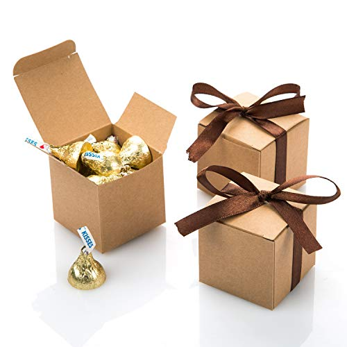 (AWELL Kraft Gift Candy Box Bulk 2x2x2 inches with Brown Ribbon Party Favor Box,Pack of 50)