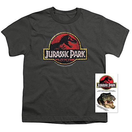 Youth T-shirt Stone (Popfunk Jurassic Park Stone Logo Youth T Shirt & Stickers (Medium))