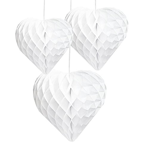 Event Maker Hearts Honeycomb Decorations White (3 CT)
