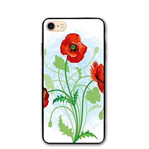 Haixia IPhone 7/8 Shell 4.7 Inch Floral Poppy Flowers Bouquet Meadow Beauty Rural Petal Fragrance Image Scarlet Fern Green Pale Blue