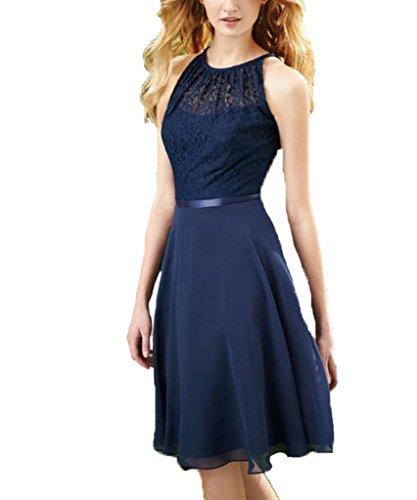 Knee Length Chiffon Dark Navy Halter Lace Bridesmaid Dress Party Dresses