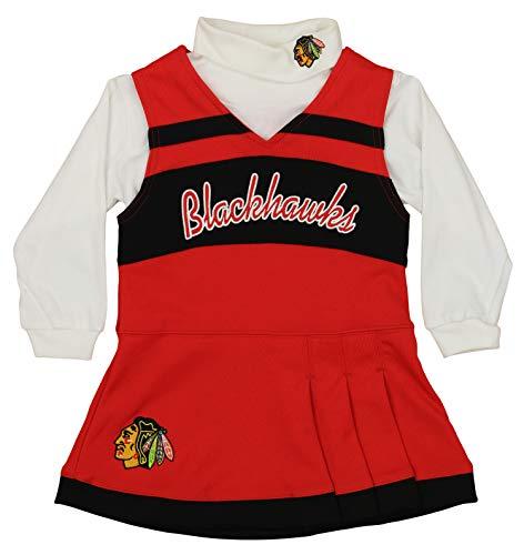 Cheerleader Piece 2 Dress (NHL Toddlers Chicago Blackhawks Cheer Jumper Two Piece Set, Red, 4T)