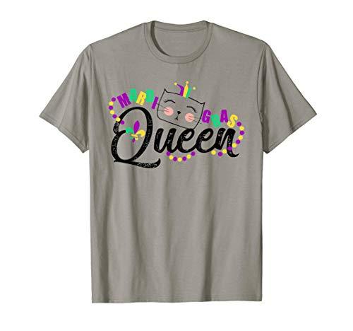 Mardi Gras Queen Party NOLA Parade Costume Cat Women T shirt ()