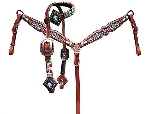 Showman PONY Size Beaded Navajo Cross Print Leather Headstall & Breast Collar Set! NEW TACK! ()