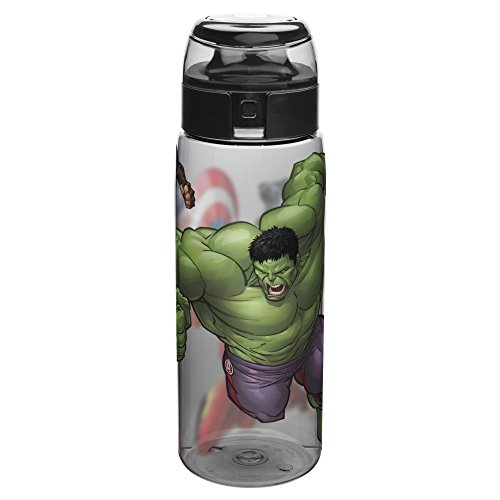 (Zak Designs AVNZ-K950 Marvel Comics Water Bottles, Tritan, Black Panther, Hulk, Captain America & Iron Man)
