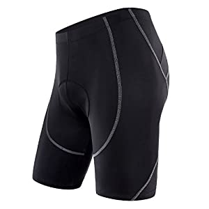 Sportneer Men's Cycling Shorts Biking Bike Bicycle Pants Half Pants 4D COOLMAX Padded, Comfort, Anti-Slip Design, Breathable & Absorbent, M