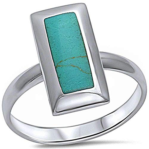 Princess Kylie Synthetic Green Turquoise Rectangular Shape Ring Sterling Silver Size 9