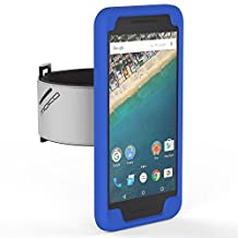 Nexus 5X Armband, MoKo Silicone Armband for Google Nexus 5X by LG 5.2 Inch 2nd Gen Smartphone - Key Holder Slot, well-rounded protection, Perfect Earphone Connection while Workout Running, INDIGO