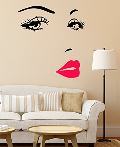 Attractive Buy Decals Design U0027Girlu0027s Face With Pink Lipsu0027 Wall Sticker (PVC Vinyl, 50  Cm X 70 Cm X 1 Cm) Online At Low Prices In India   Amazon.in