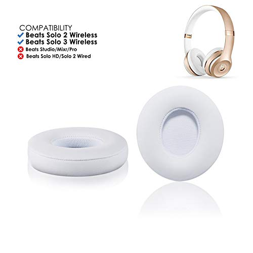 Bingle Upgraded Beats Replacement Solo 2 & 3 Earpad - Beats Solo Cushion Replacement Compatible with Beats Solo2 & Solo3 Wireless On-Ear Headphones, White (Solo Foam)