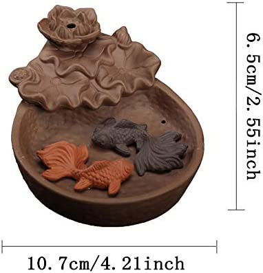 Natural Sandalwood Incense Stick Home Decor Aromatherapy Ornament,Two Fish MilkyWay Waterfall Backflow Incense Burner Ceramic Incenser Holders