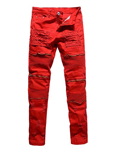 Rexcyril Men's Ripped Slim Distressed Jeans Straight Fit Biker Moto Denim Pants with Zipper Deco Red W34