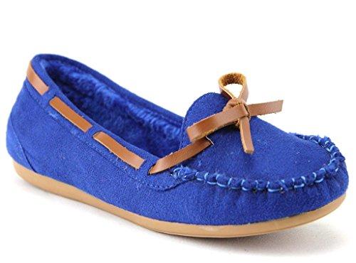 J'aime Aldo New Womens WM Warm Fur Lined Winter Moccasin Flats Shoes, Royal Blue, 5.5