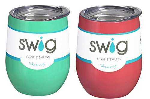 Occasionally Made O-SW-9-BK Swig Wine Cup, 9 oz (Mint & Coral) - Made Coral
