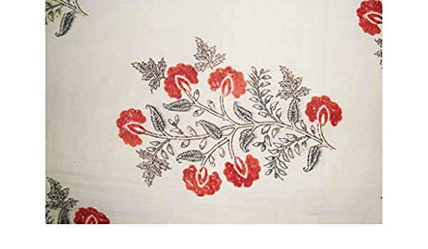 Indian dress making sewing 10 yard size white floral print grey primary colour handmade 100/% pure cotton home decor fabric