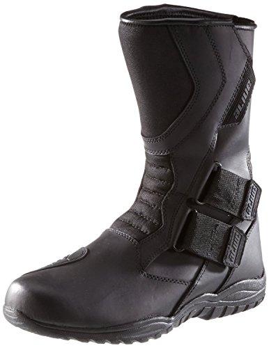 Protectwear Motorradstiefel, Tourenstiefel, Allroundstiefel aus schwarzem Leder mit Klettverschluss