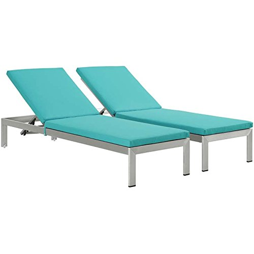 Modway Shore Set of 2 Outdoor Patio Aluminum Chaise with Cushions in Silver Turquoise price