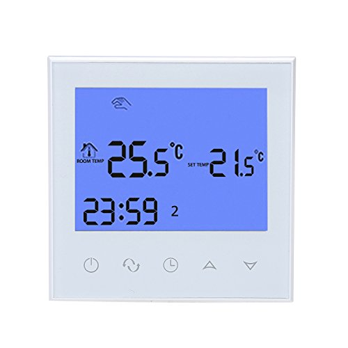 WiFi Programmable Thermostat, LCD Touch Screen Temp Air Heating Condition Temperature Control Underfloor 16A 110V 7-Day Remote Backlight (White)