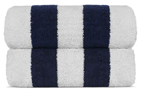 Premium Quality Extra Large Hotel and Spa 2-Piece Beach Towels, Pool Towels with Cabana Stripe, Eco-Friendly, Turkish Cotton (Navy, 35x65 inches) by Chakir Turkish Linens
