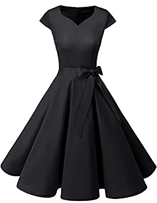 DRESSTELLS Retro 1950s Cocktail Dresses Vintage Swing Dress with Cap-Sleeves