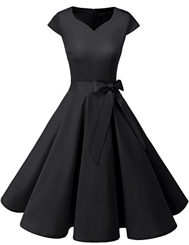 DRESSTELLS Retro 1950s Solid Color Cocktail Dresses Vintage Swing Dress with Cap-Sleeves Black XL