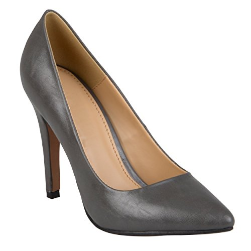 Matte Collection Pointed Journee Grey Womens Matte Finish Toe Pumps BIEUwd7Uqx