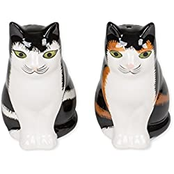 Calico American Shorthair Cats 3 Inch Glazed Ceramic Salt and Pepper Shakers 2 Piece Set