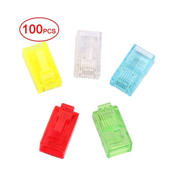 Postta RJ45 CAT5 CAT5E CAT6 Connector 8P8C Gold Plated LAN Crystal Head 100 Pieces 1 RJ45 Connectors for CAT5,CAT5E,CAT6 Network Cable Solid Crimp Connector Crystal 5 Colors:Clear,Yellow,Blue,Green,Red