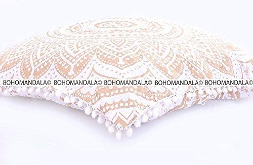 Gold Floor Pillow (Gold Floor Cushion Cover Dog Pillow Mandala Design Bohemian Hippy Gypsy Cotton Collection By Bohomandala)
